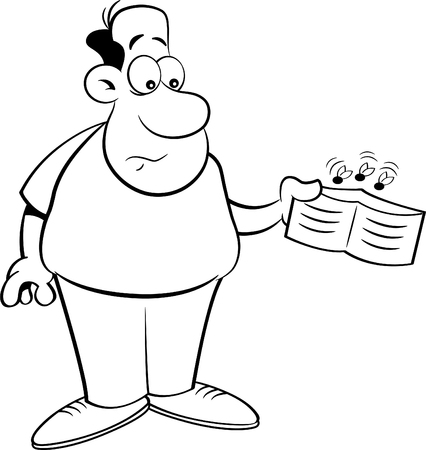 humorous: Black and white illustration of a man holding an empty wallet.