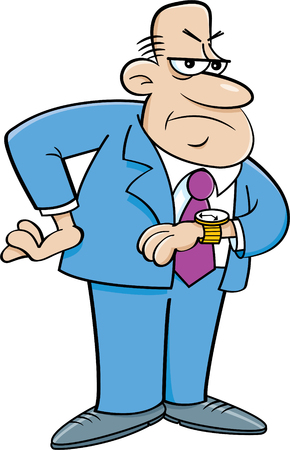 Cartoon illustration of an angry man looking at his watch.