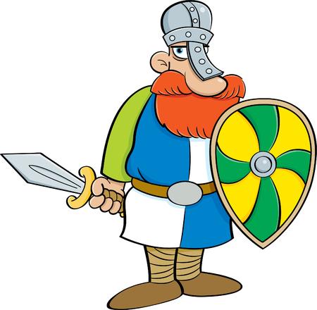Illustrazione del fumetto di un cavaliere medievale che tiene uno schermo e una spada.