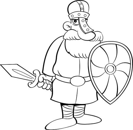 Ilustración Blanco Y Negro De Un Caballero Medieval Con Un Escudo Y ...