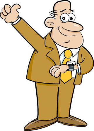 Cartoon illustration of a man looking at his watch and giving thumbs up.