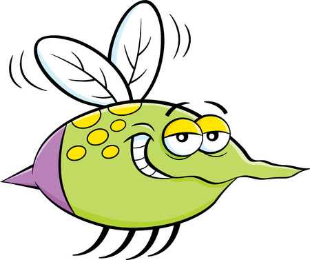 humorous: Cartoon illustration of a flying insect. Illustration