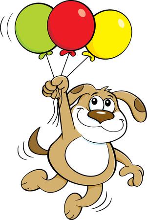 Cartoon illustration of a dog holding balloons. Illustration