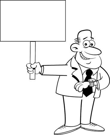 Black and white Illustration of a Man Looking at His Watch and holding a sign.