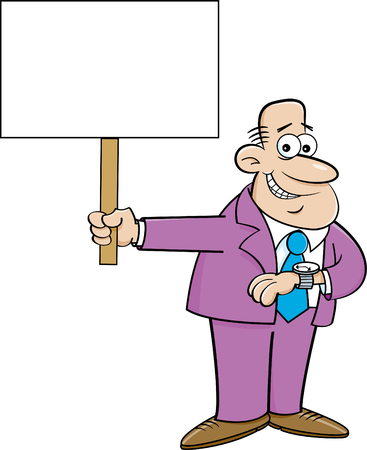 Cartoon Illustration of a Man Looking at His Watch and holding a sign.
