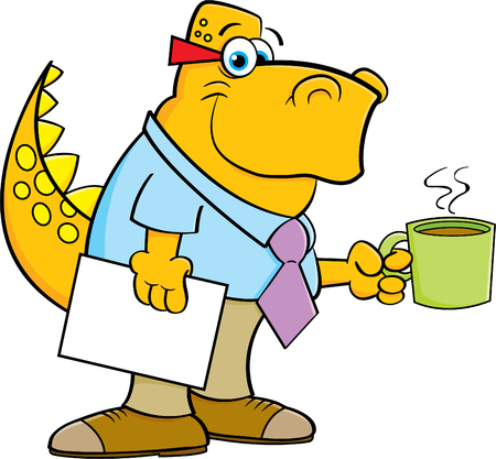 Cartoon illustration of a dinosaur holding a coffee cup.