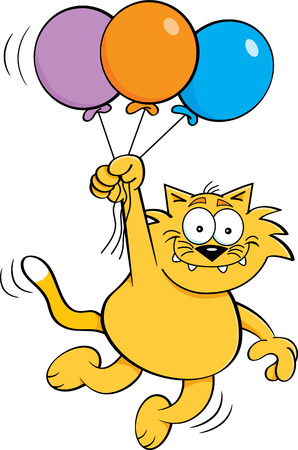 artoon illustration of a cat holding balloons.