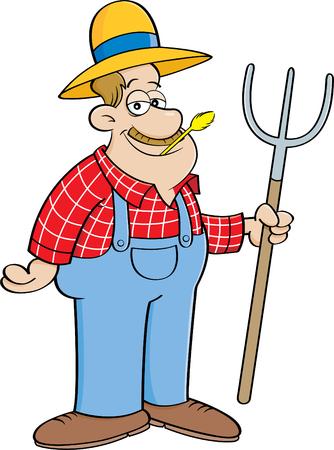 pitchfork: Man holding a pitchfork