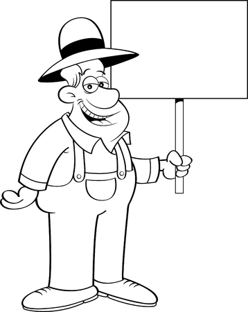 Black and white illustration of a farmer holding a sign.