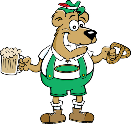 Cartoon illustration of a bear holding a beer mug and a pretzel. Illustration