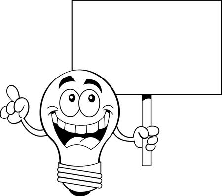 기호를 보유하는 전구의 흑백 그림. 일러스트
