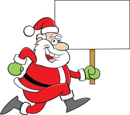 Cartoon illustration of a Santa Claus running while holding a sign. Ilustração