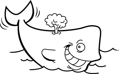 Black and white illustration of a smiling whale with a blow spout.