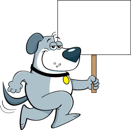 Cartoon illustration of a dog running and holding a sign.