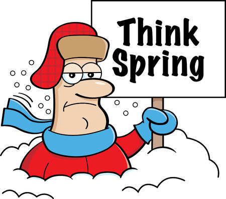 Cartoon illustration of a man buried in snow holding a Think Spring sign.