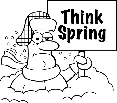 Black and white illustration of a man buried in snow holding a Think Spring sign. Çizim