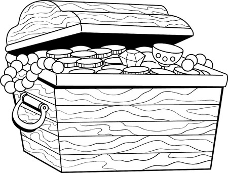 Black and white illustration of a treasure chest.