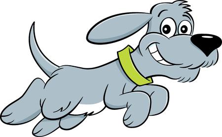Beeldverhaalillustratie van hond het springen. Stock Illustratie