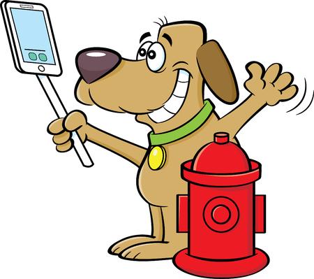 消火栓で自分撮りをする犬の漫画のイラスト。  イラスト・ベクター素材