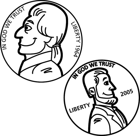 Black and white illustration of a nickel and penny coins. Çizim