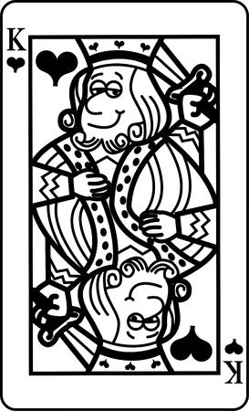 Black and white illustration of a King of Hearts playing card.