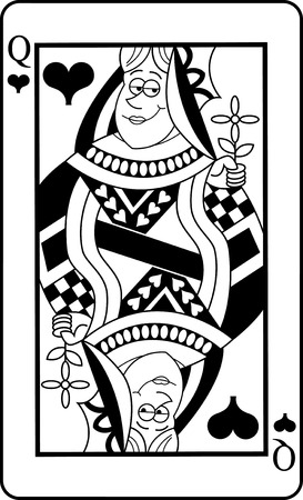 Black and white illustration of a Queen of Hearts playing card.