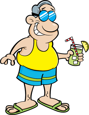 Cartoon illustration of a man wearing a swimsuit and holding a drink.