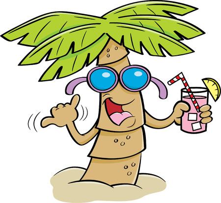 Cartoon illustration of a palm tree wearing sunglasses and holding a drink.