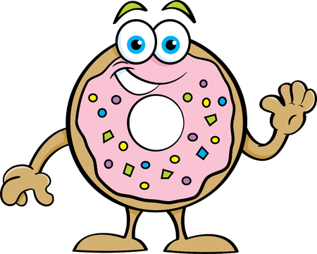 Cartoon illustration of a happy donut waving.