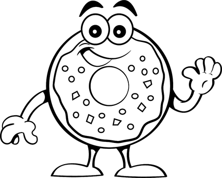 Black and white illustration of a happy donut waving.