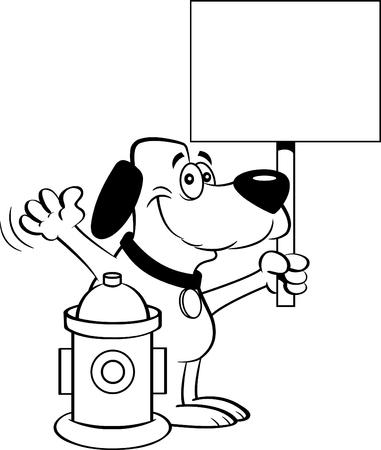 Illustration en noir et blanc d'un chien tenant une pancarte à côté d'une bouche d'incendie. Vecteurs
