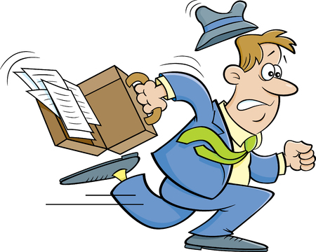 Cartoon illustration of a stressed businessman running with a briefcase. Stock fotó - 97607815