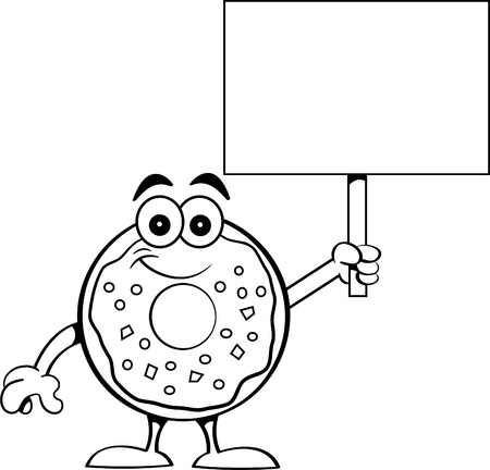 Black and white illustration of a happy donut holding a sign. Illustration