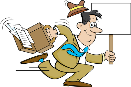 Cartoon illustration of a businessman running with a sign.