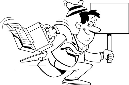 Black and white illustration of a businessman running with a sign. Stock fotó - 99519039