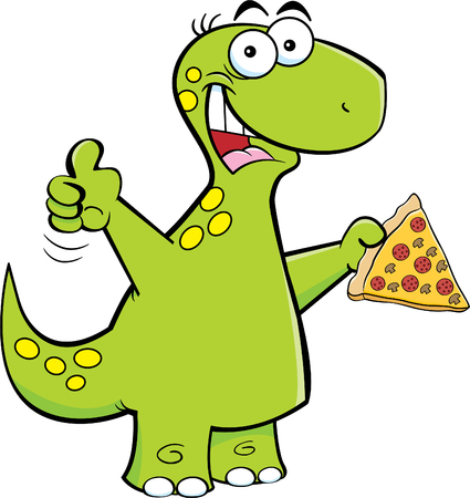 Cartoon illustration of a brontosaurus holding a slice of pizza.