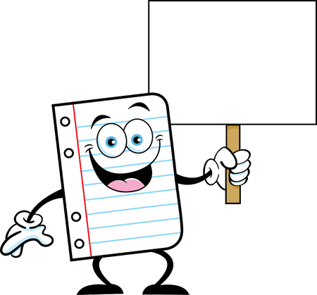 Cartoon illustration of a piece of notebook paper holding a sign. Illustration