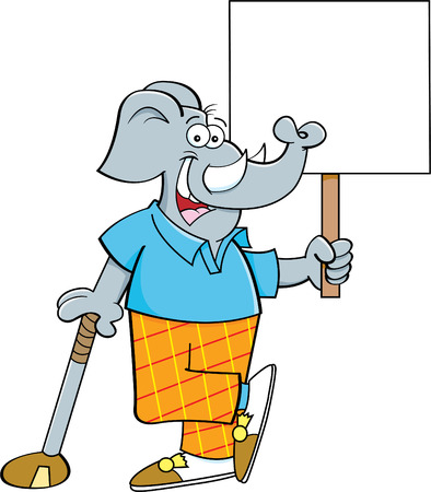 Cartoon illustration of an elephant golfer leaning on a golf club while holding a sign. Stock fotó - 102311484