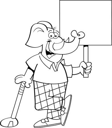 Black and white illustration of an elephant golfer leaning on a golf club while holding a sign.