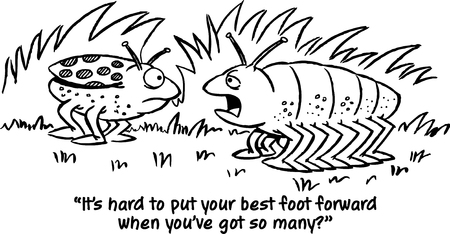 Black and white illustration of two bugs talking with the caption