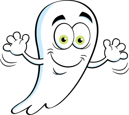 Cartoon illustration of a happy ghost waving.