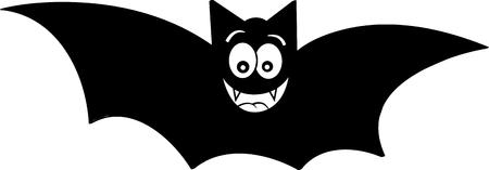 Black and white illustration of a smiling bat.  イラスト・ベクター素材