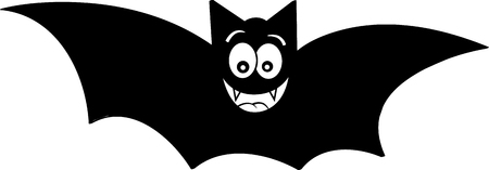 Black and white illustration of a smiling bat. Illustration