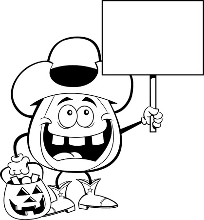 Black and white illustration of a pumpkin dressed as a cowboy while trick or treating and holding a sign.  イラスト・ベクター素材