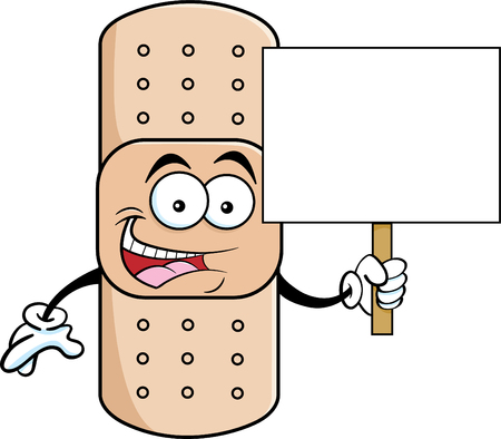Cartoon illustration of a bandage holding a sign. Иллюстрация