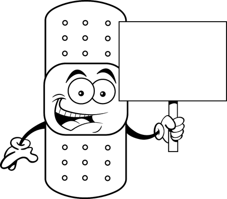 Black and white illustration of a bandage holding a sign.