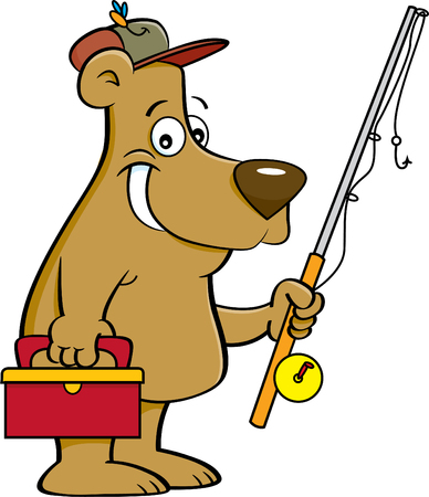 Cartoon illustration of a bear holding a fishing rod.