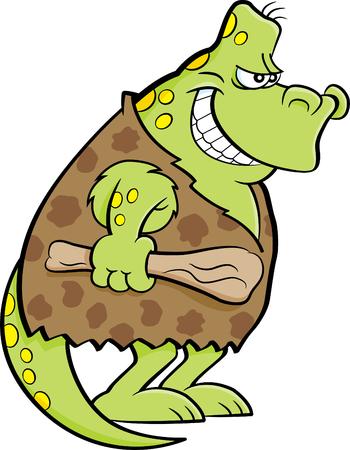 Cartoon illustration of a dinosaur dressed as a caveman. Ilustrace