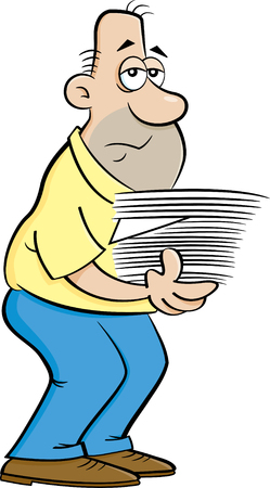 Cartoon illustration of a weary man with an armload of papers. Stock fotó - 109004935