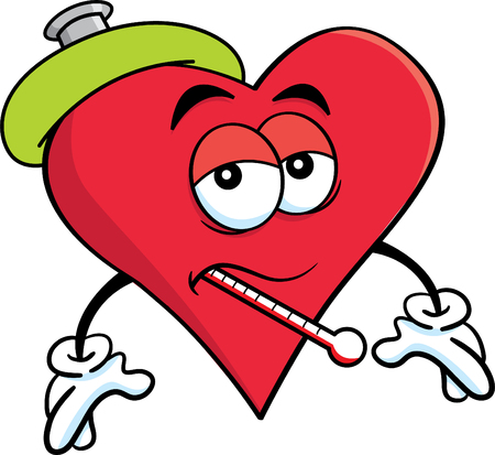 Cartoon illustration of a sick heart with a thermometer.